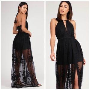 Black lace boho maxi dress